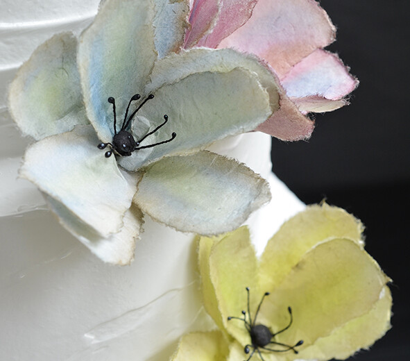 Wedding cake with handmade paper flowers