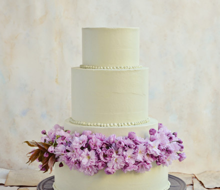 Wedding cake with spring blossoms