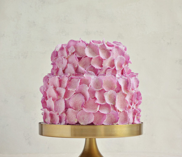 Sugared rose petal cake