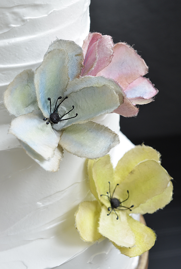 Wedding cake with handmade paper flowers